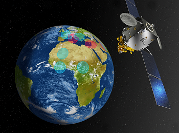 Illustration des zones de couverture du satellite Athena-Fidus - © CNES/ill./DUCROS David, 2013